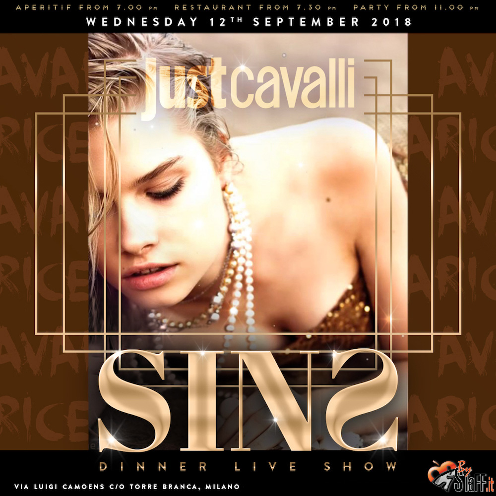 Mercoledì 12.09.18 Just Cavalli Aperitivo + serata - #bystaff.it