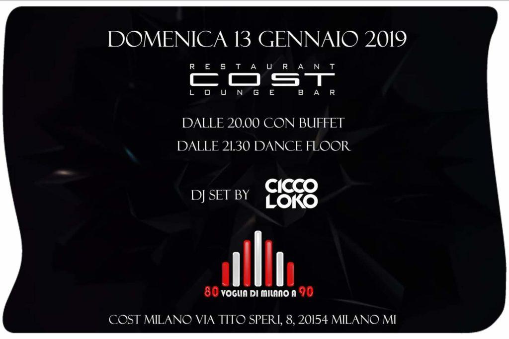 Domenica Cost Milano 13/01/2019